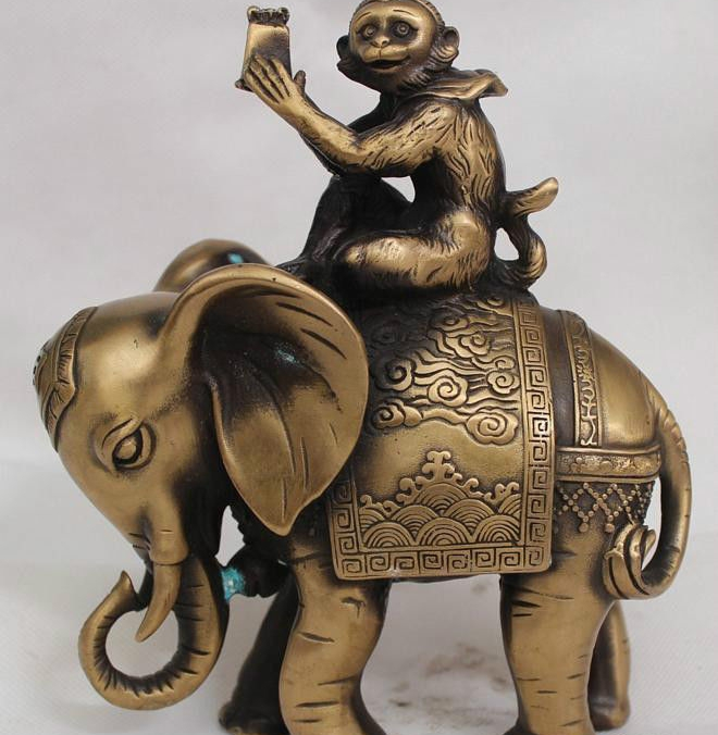 """8"""" China Chinese Purple Bronze Folk elephant Zodiac Year Monkey gifts Statue