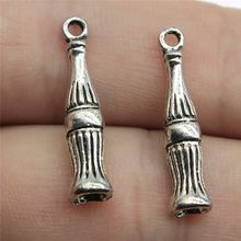 30pcs/lot Coke Bottle Charms For Jewelry Making 0.9x0.2 inch (24x5mm) Antique Silver Plated Accessories(China)