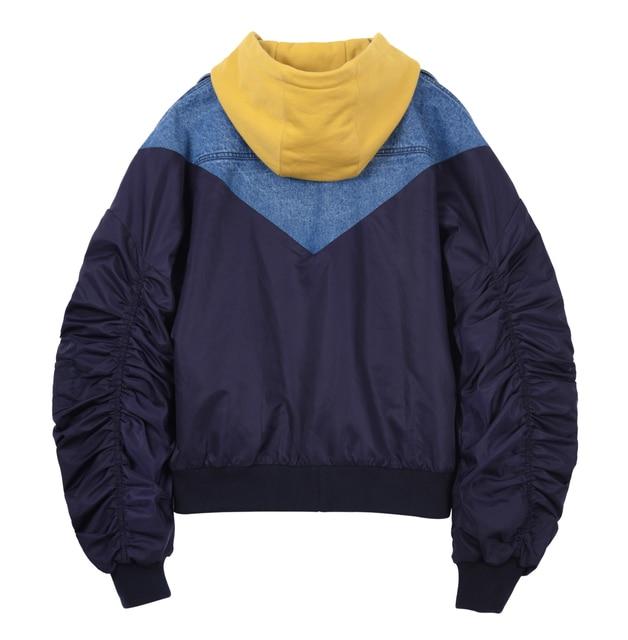 A Sneak Peek Fall / Winter Fashion Denim Patchwork Hit Color Hooded 5