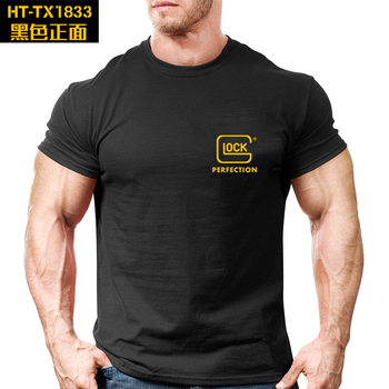 2019 New Glock T Shirt 100% Cotton Graphic Tee Military Short Sleeve Airsoft shooter hiking breathable Tactical hunting Tshirts