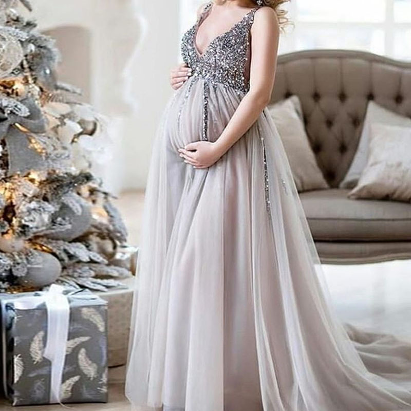 TaoHill Pregnant Woman Dress New Grey Long Evening Dress Beading Pearls Backless Formal Dress Prom Gowns Robe De Soiree