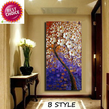 Hand-painted home decor wall art picture blue purple background Pink flower tree thick palette knife oil painting  on canvas