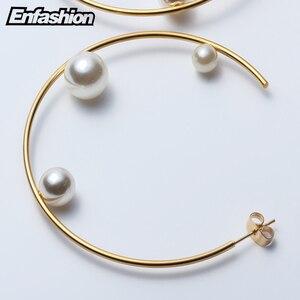 Image 5 - Enfashion Jewelry Geometric Pearl Line Hoop Earrings Gold color Stainless Steel Circle Earrings For Women Earings EEF1014
