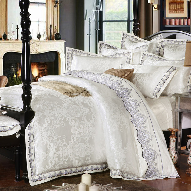 SunnyRain 4/6 Pieces White Jacquard Silk Cotton Luxury Bedding Set King Size Queen Bed Set Lace Duvet Cover Bed Sheet Pillowcase