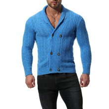 2018 autumn double breasted wool sweater men good quality cardigan christmas slim fit