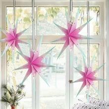 1pc Pastel Rainbow 9 Angles Paper Star Giant 60cm Lantern 3D Hanging Decor Wedding Home Birthday Party DIY Crafts Christmas