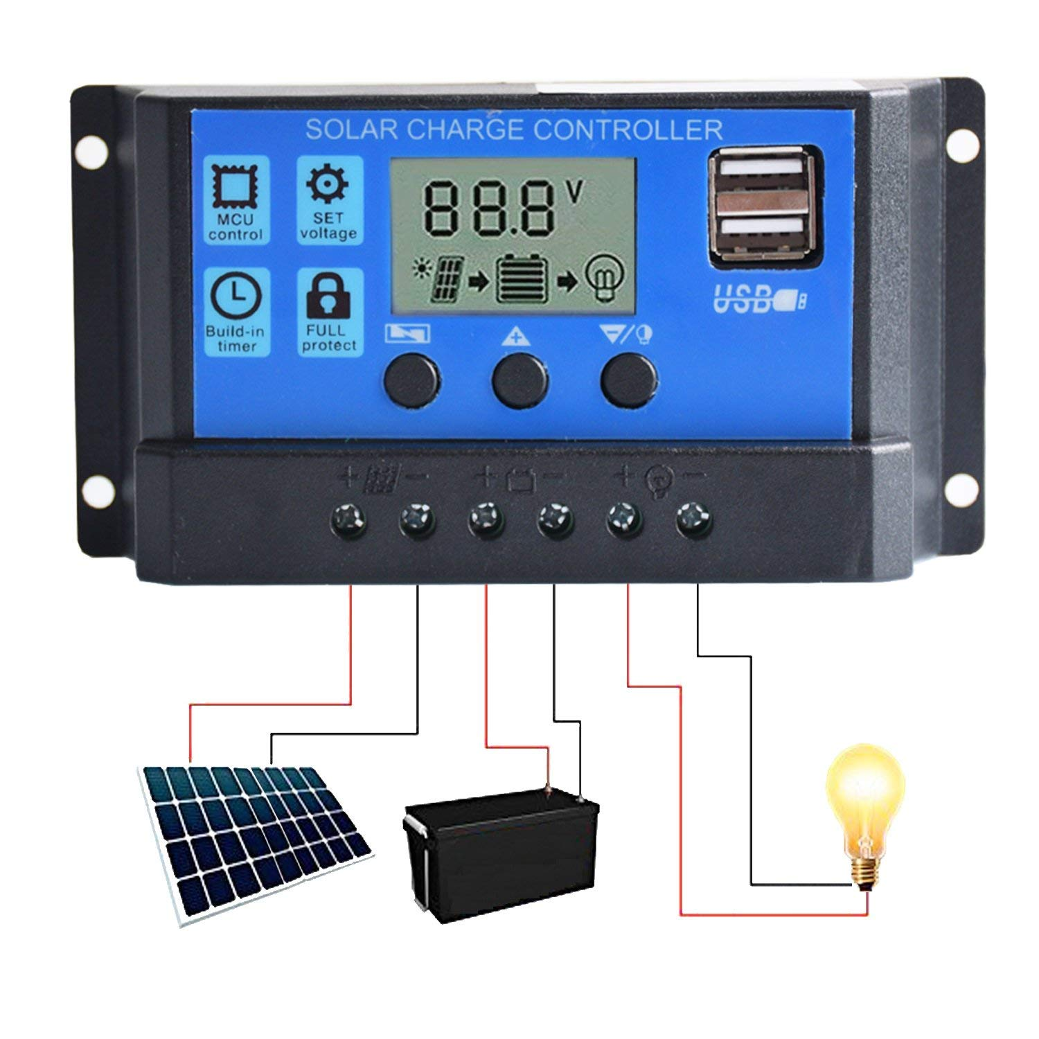 10A 20A 30A Solar Charge Controller Solar Panel Battery Intelligent Regulator USB Port Display 12V 24V