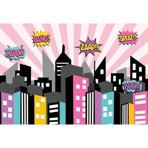 Image 4 - Mehofond 사진 배경 블루 슈퍼 히어로 생일 만화 빌딩 소년 어린이 포스터 배경 사진 스튜디오 Photocall