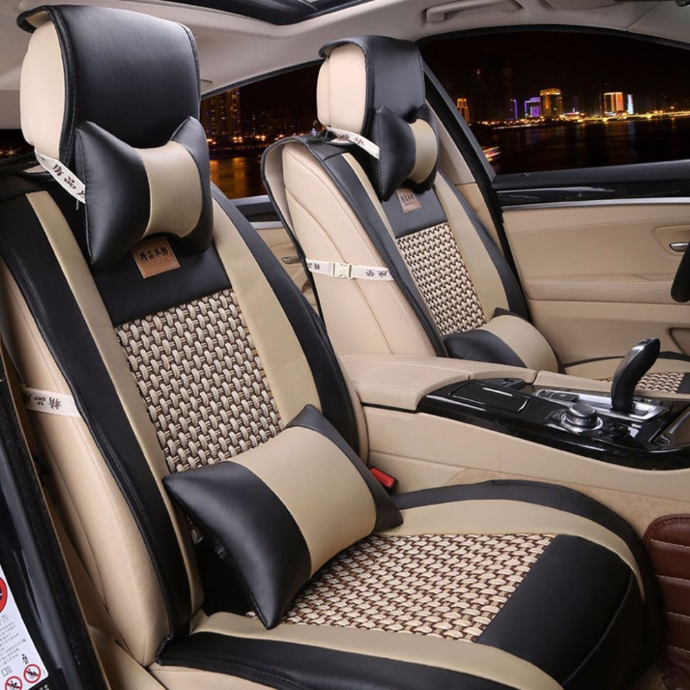 One Set Summer Luxury PU Leather Car Seats Cover Universal Seat Covers Whole