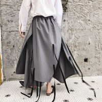 2019 CHIC Men's Casual Ribbon Skirt Pants Punk Hip hop Loose Unbalance Fashion Offbeat Culottes Costumes Male Ankle Length Pants