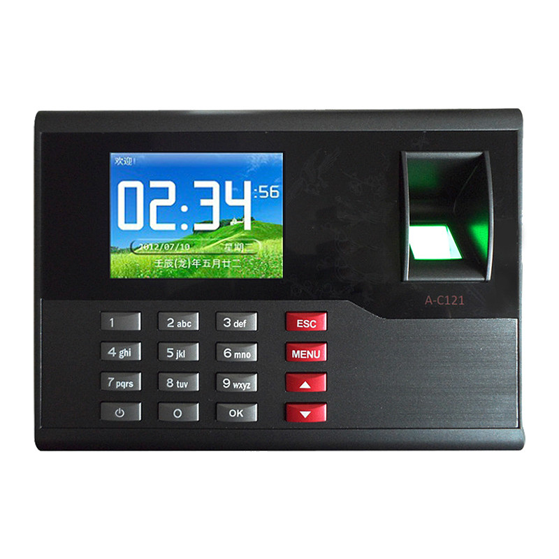 A-C121 TCP/IP Biometric Fingerprint Time Clock Recorder Attendance Employee Electronic Punch Reader Machine Realand with 2.8'' tcp ip spanish language fingerprint time attendance punch card and fingerprint time clock realand