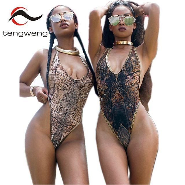 d9c61c3c30aa3 Tengweng 2018 Sexy Black Print One piece Women Swimsuit Brazilian Plus size  Swimwear Halter Push up Thong Female Bathing suit