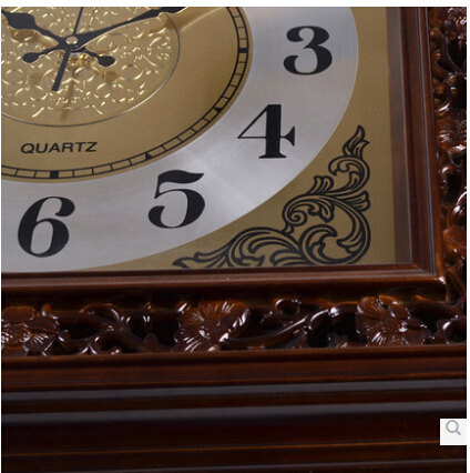 Genuine European modern design solid wood carved king size 24.5 inches square retro wall clock mute high quality of luxury