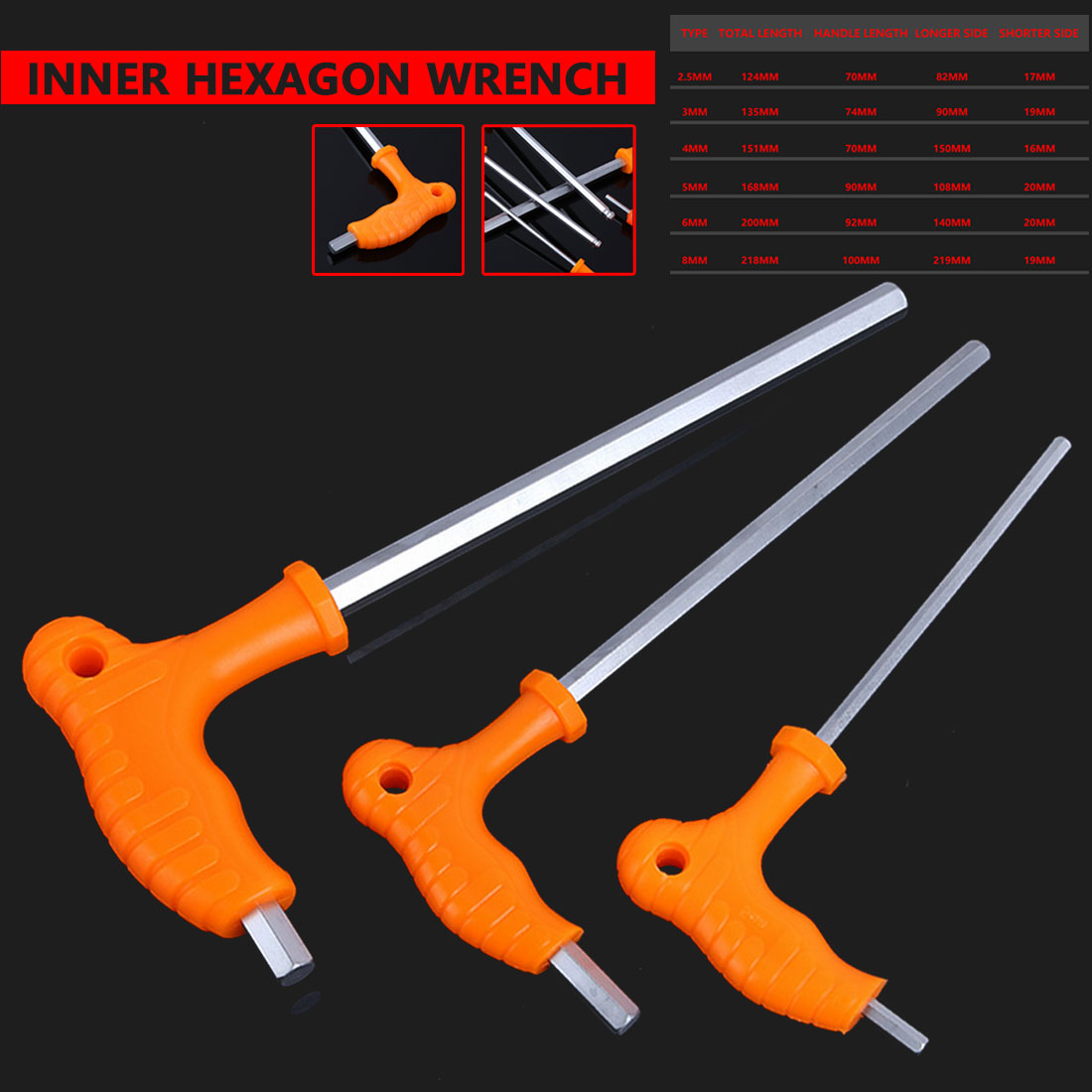 Hand Tool 2.5/3/4/5/6/8mm High-carbon Steel Inner Hexagon Wrench T Handle Allen Hex Key Wrench Spanner