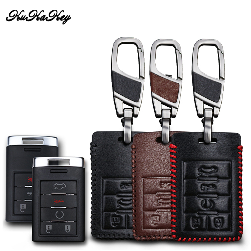 Ambitious Kukakey Genuine Leather Car Key Case For Cadillac Cts Escalade Srx Ats Sts Key Cover Holder Bag Car Styling Accessories Comfortable And Easy To Wear