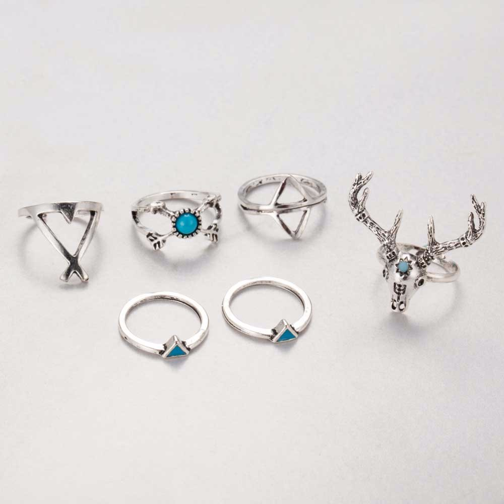 7pcs/set Boho Vintage Anti Silver Rings