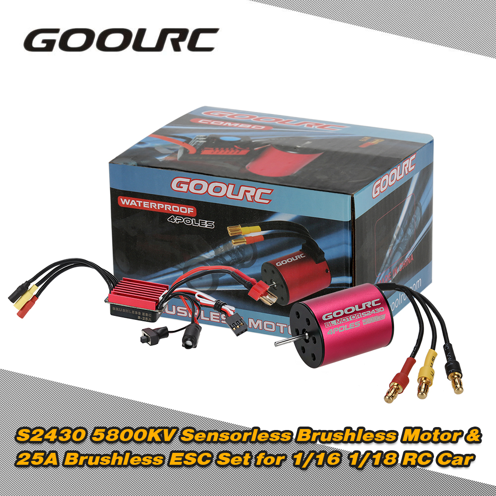GOOLRC S2430 5800KV Sensorless Brushless Motor & 25A Brushless ESC Combo Set for 1/16 1/18 RC Car Truck Electronic Accessories sensorless 35a brushless esc electric speed controller for rc car racing set ft