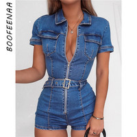 BOOFEENAA Fashion Deep V Zip Belt Pocket Denim Rompers Womens Bodycon Jumpsuit Shorts Streetwear Summer 2019 Playsuit C55 BD56