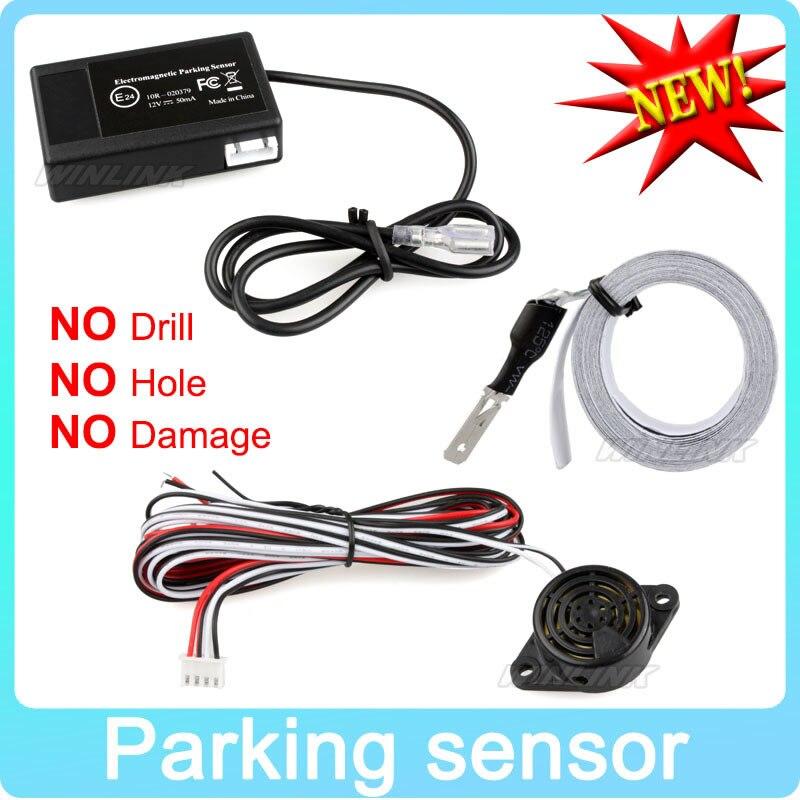 Coche caliente Sensor de aparcamiento electromagnético No agujeros \ fácil de instalar Radar de estacionamiento parachoques guardia de inversión sistema de aparcamiento