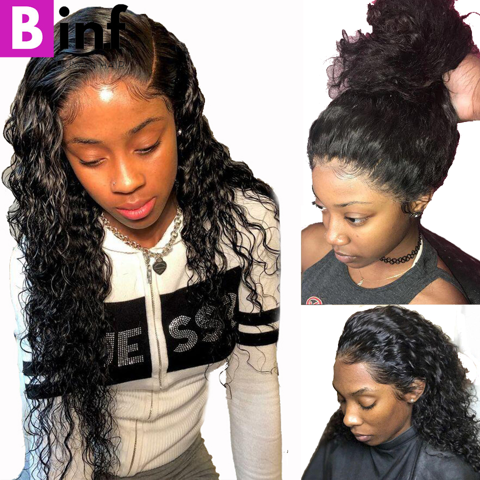 BINF Hair Indian Deep Wave Human Hair Wigs 360 Lace Frontal Wig With Baby Hair Pre-Plucked Remy Hair 150% Density Natural Black(China)