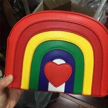 Neue mode frauen regenbogen crossbody-tasche frauen bunte nette rote handtasche lolita messenger bags