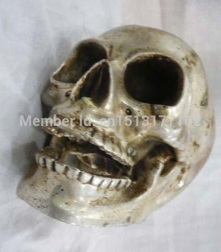 Wonderful Tibetan silver handwork big skull death/'s head statue
