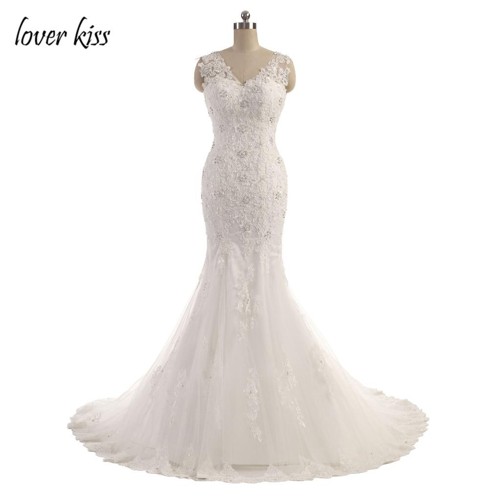 Lover Kiss Vestido De Noiva Elegant Ladies Flora Lace Bodice Trumpt ...