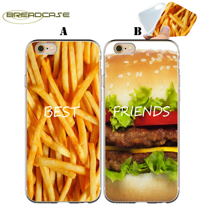 Coque Hamburger French Fries BFF Clear Soft Silicone Couple Cover for iPhone X 7 8 Plus 5S 5 SE 6 6S 5C 4S 4 iPod Touch 6 5 Case