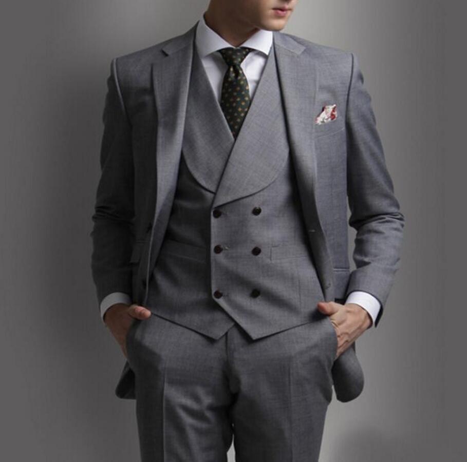∞Custom Made Gray Men Suit Tuxedo Two Buttons Notch Lapel Three ...
