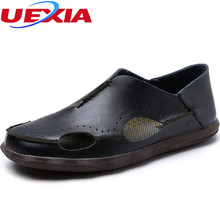 2017 Handmade Breathable Hollow Casual Leather Flats Soft Comfortable Loafers Driving Flat Men Shoes Hand Made Mocassin Designer