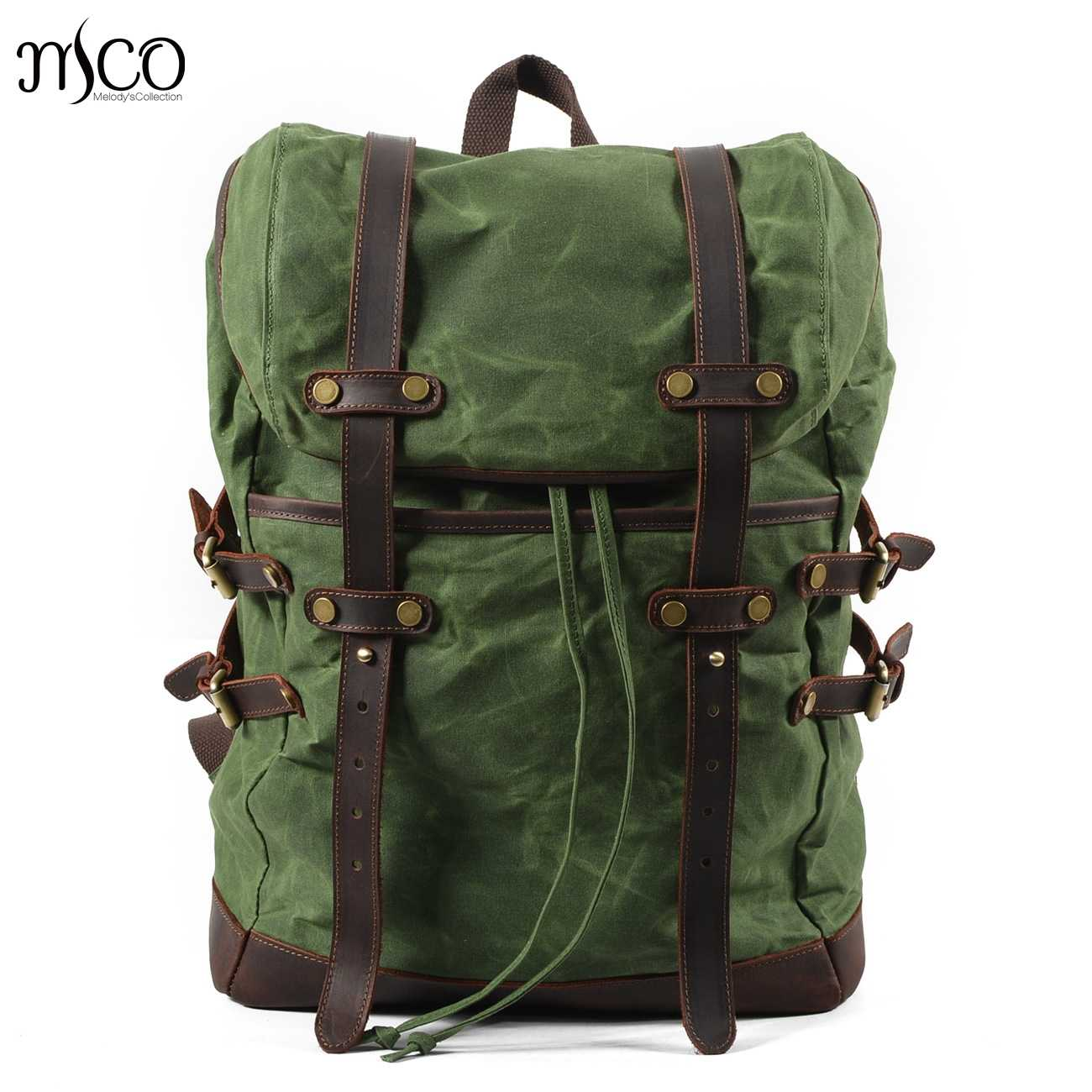 1e7dc43a79ed Men Backpacks Vintage Waxed Canvas Leather School Military Backpack Male  Large Capacity Waterproof Bagpack Travel Rucksack