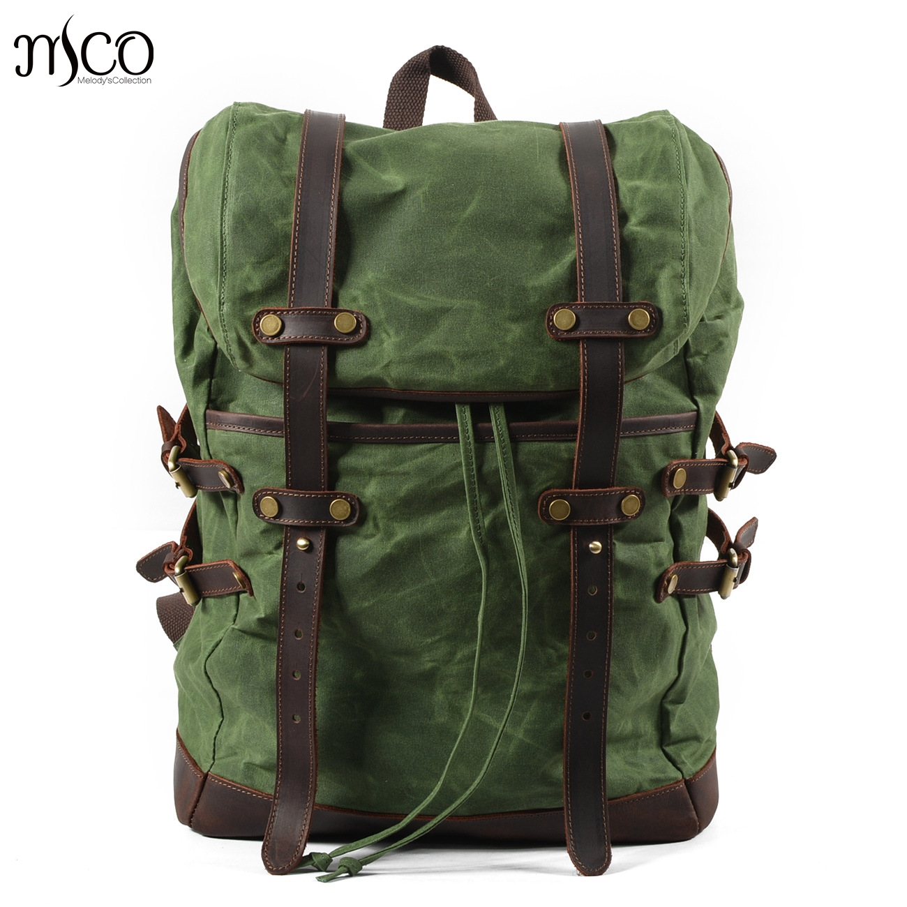 Men Backpacks Vintage Waxed Canvas Leather School Military Backpack Male  Large Capacity Waterproof Bagpack Travel Rucksack Bag 0c5ef3ed1f