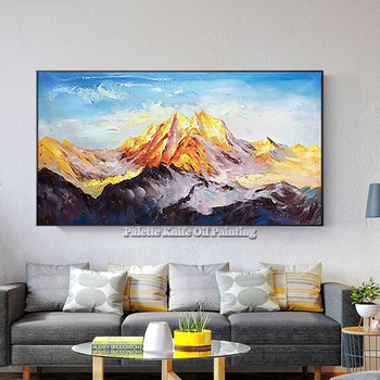 Canvas acrylic painting gold art mountain Wall art Pictures for living room wall decor Hand painted modern abstract cuadro decor