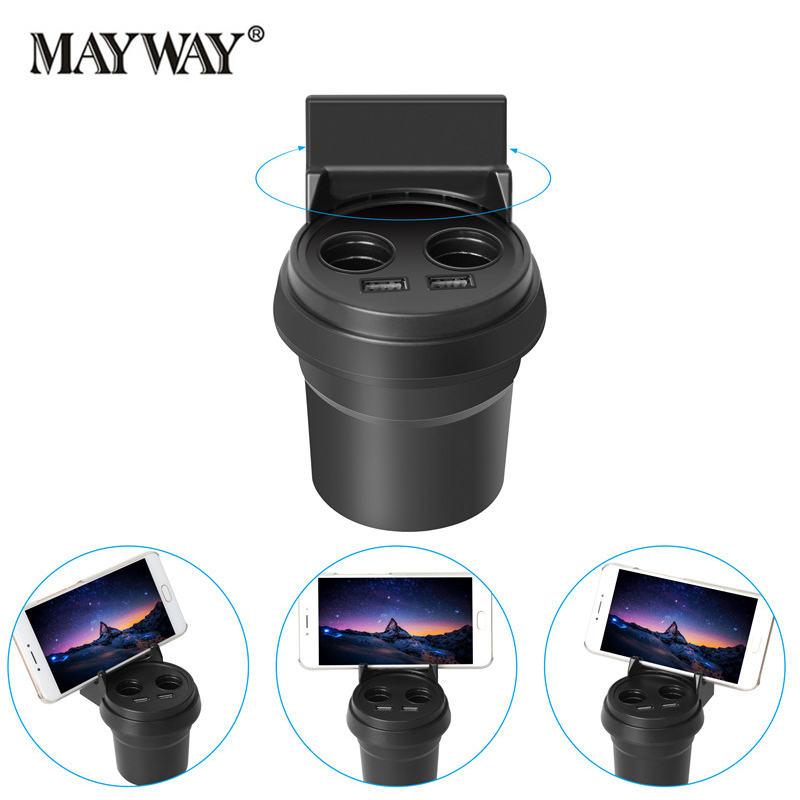 Portable with 360 Roration Holder Dual USB Cup Type Car Charger <font><b>Cigarette</b></font> <font><b>Lighter</b></font> Splitter <font><b>Phone</b></font> Charging for Xiaomi iPhone 7