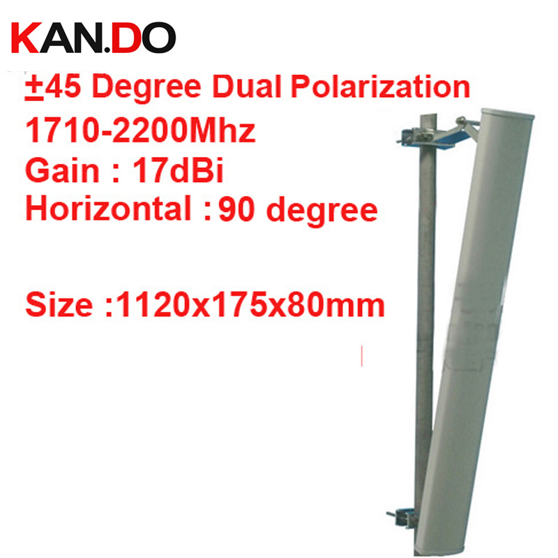 17dbi double polarisation + 45 &-45 degrés 1710-2200 Mhz panneau antenne DCS 3G antenne Base station LTE FDD antenne TDD 4G LTE