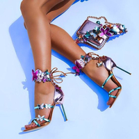 2018 Mixed Color Women Sandals Butterfly Ankle Lace Up Sandals Peep Toe Stiletto High Heels Pumps 10cm Lady Party Wedding Shoes