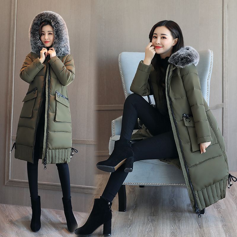 Large Faux Fur Collar Winter Coat Women Thick Cotton Padded Jacket 2017 New Fashion Slim Long Women Parka Outerwear Overcoat 2013 women autumn winter fashion candy color faux wool fur collar hood slim long thick cotton padded coatm l xl d2151