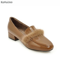 KoHuiJoo Big Size Womens Low Heel Pumps Patent Leather Shoes Mink Fur Casual Thick Office Lady