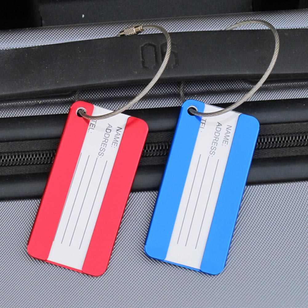 1 قطعة البسيطة مستطيل الألومنيوم سبائك علامات للأمتعة إكسسوارات السفر الأمتعة اسم الكلمات حقيبة عنوان المحمولة تسمية حامل