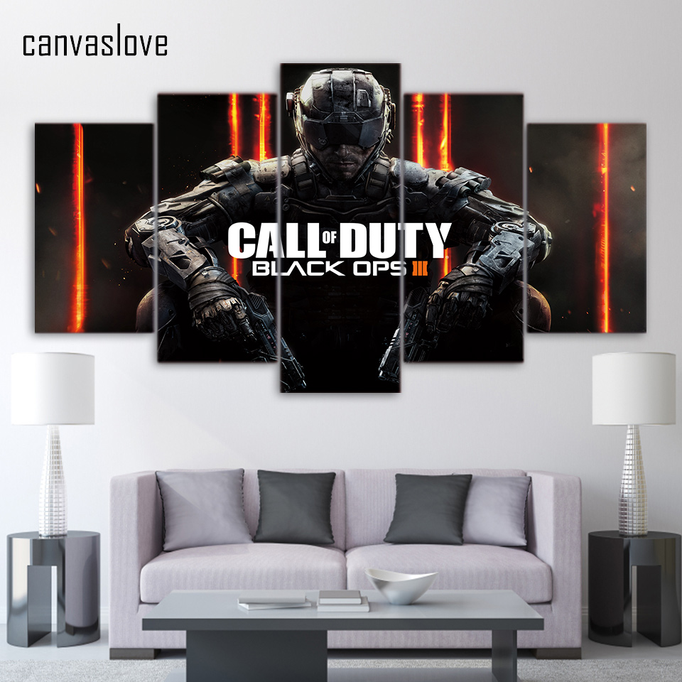 5 piece canvas art hd print call of duty black ops 3 game for Black ops 3 decorations