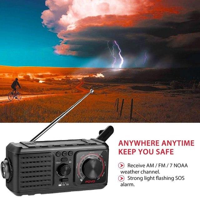 Radio Meteorológica NOAA con manivela Solar para emergencias con lámpara de lectura de linterna AM/FM y banco de energía de 2000mAh