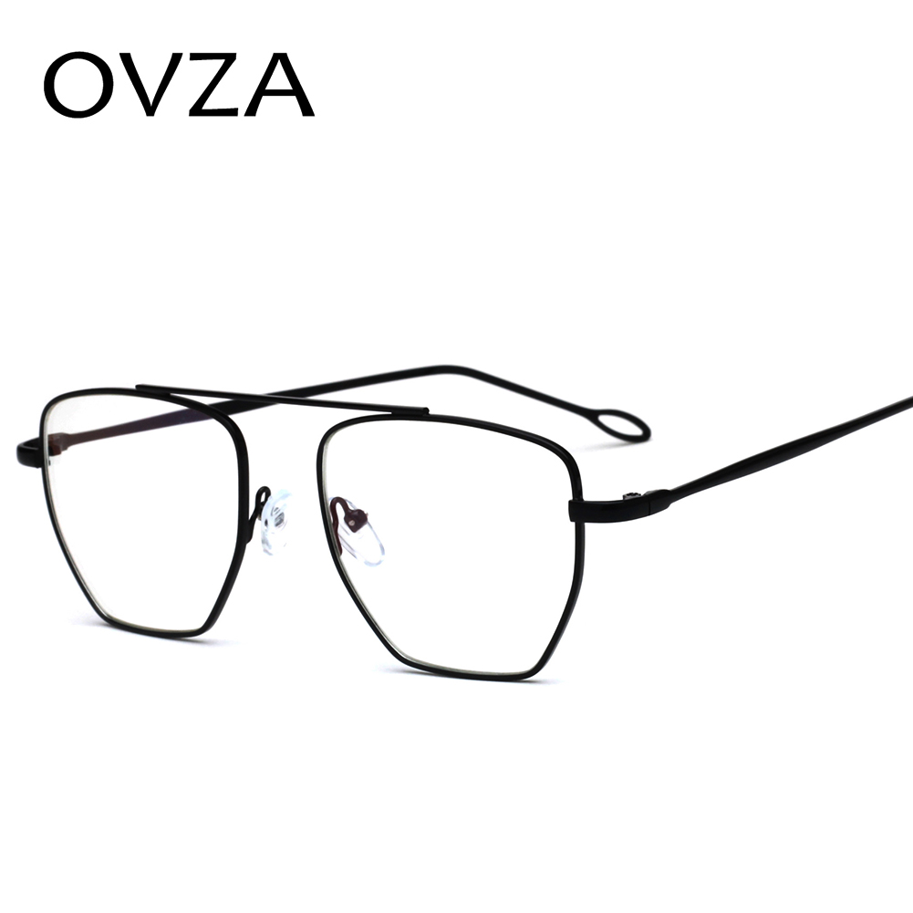OVZA New Irregular Glasses for Women Transparent Men Glasses Frame Metal Openwork Leg Eyeglasses Fashion S8063 thumbnail
