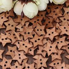 Хит! 100 шт 2 отверстия DIY звезда форма деревянная пуговица скрапбукинга ремесло швейные пуговицы
