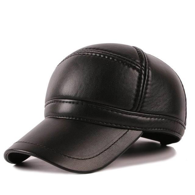 Кожа Теплая Зима Мужской Бейсболка Ухо Защиты Хорошее Качество Кожи Человека Cap Держите Тепло Кожи Hat