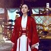 Red China Beauty Diao Chan Hanfu Costume TV Play Chinese Hero Zhao ZiLong Of Three Kingdoms