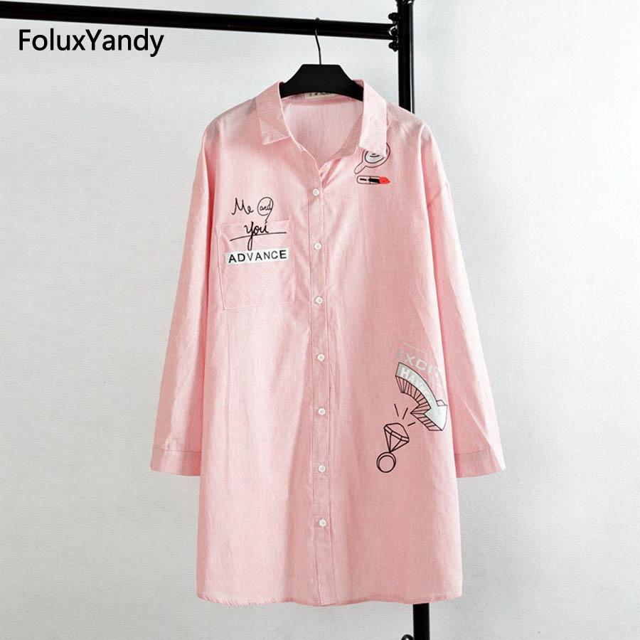 Blusa estilo blusa de las mujeres del estilo coreano más el tamaño 4 4 XL Casual Algodón a rayas de impresión camisas largas rosa azul cielo KK1663
