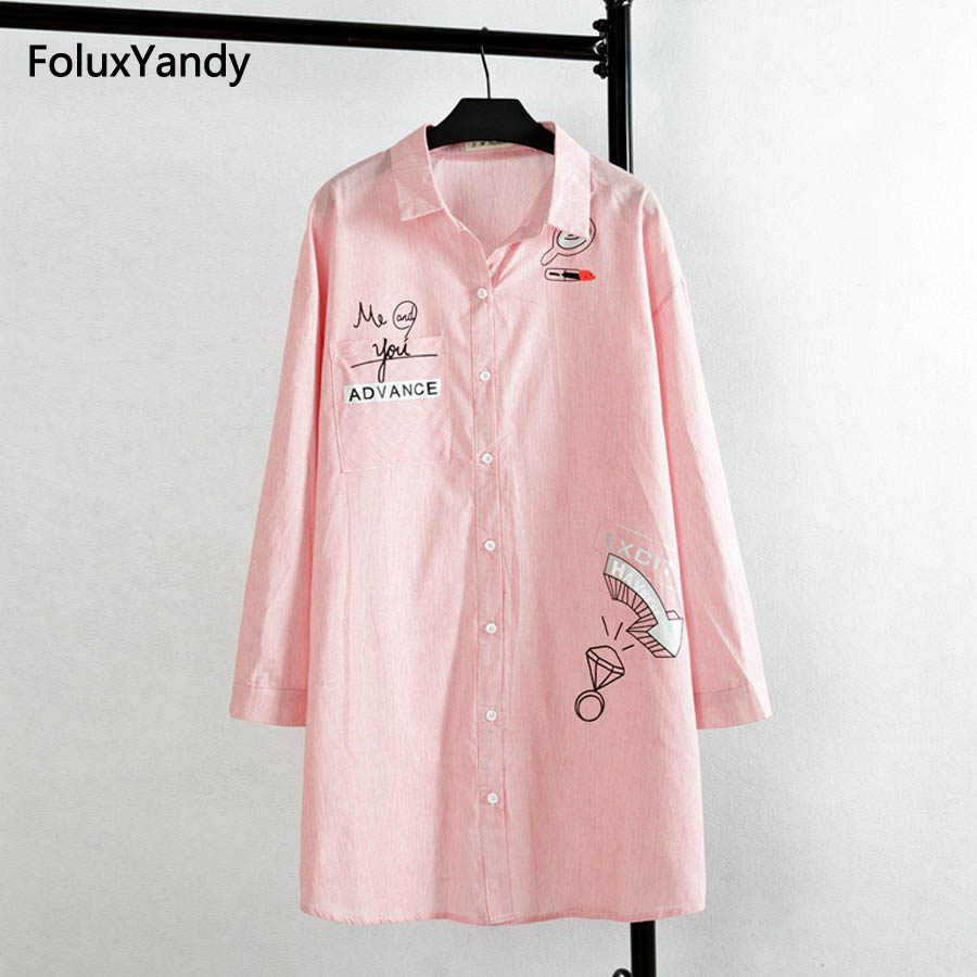 Korean Style Women Blouse Shirt Plus Size 3 4 XL Casual Cotton Striped Print Long Shirts Pink Sky Blue KK1663
