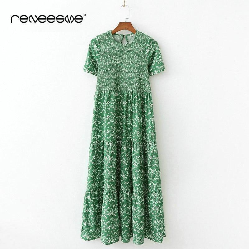 Décontracté nouvelles femmes robe à manches courtes o cou élastique plissé longues dames robes vintage bohème imprimer été femmes robes - 2