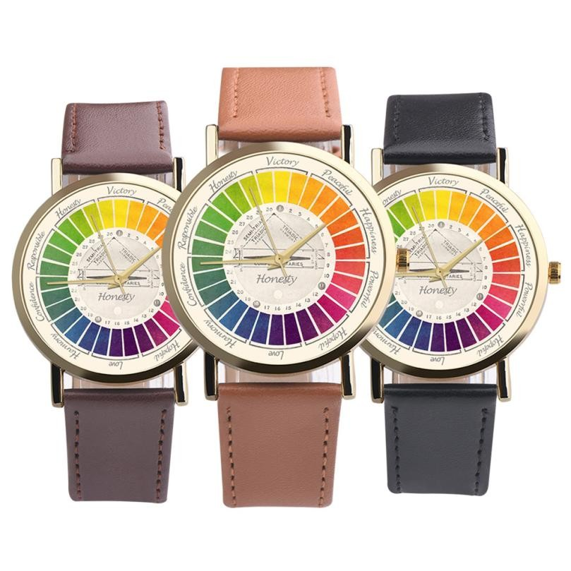 Creative Womens Mens Casual Cute Colourful Leather Band Analog Alloy Quartz Wrist Watch clock Ladies Watch xfcs saat Horloges analog watch