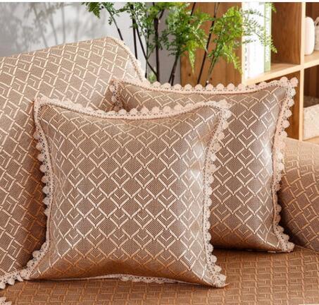Summer ice silk sofa cushion cover cool pad mat summer rattan seat cushion European fabric anti-slip mat hold pillowcase